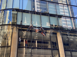 100kg glass replacement in the busy CBD of Sydney.