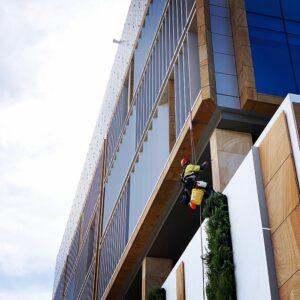 Sealing sandstone facade panels.